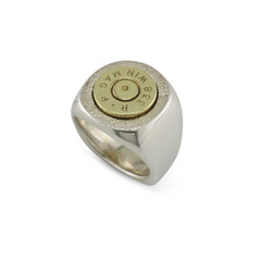 925 Silver 338 Mag Signet Ring Size 10.