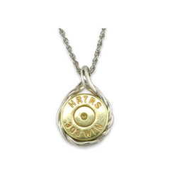 925 Silver Rope Braid 308 Win Mag Pendant With Display Chain.