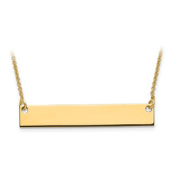 14k Yellow Gold Medium Polished Blank Bar With Chain