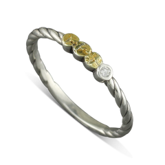925 Sterling Silver Diamond ring with Gold Nugget Dots Size 6.25