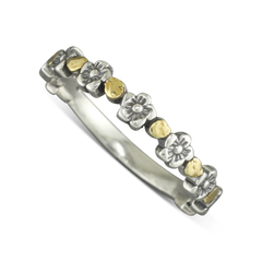 925 Sterling Silver Flower Ring With Gold Nugget Dots Size 6.25