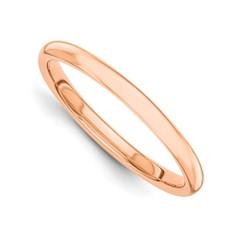 14 Karat Rose Gold Ring 2 MM Size 7