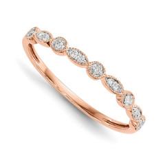 14 Karat Rose Gold Diamond Ring Size 6.75