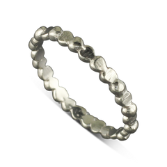 14 Karat White Gold Heart Stack-able Ring Size 6.25