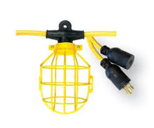 08-00192 LIGHT STRING 10-LIGHT 12/3 100' SJTW 300V 20A 125V TWIST LOCK MED DUTY / PLASTIC GUARD