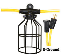 08-00200 LIGHT STRING 10-LIGHT 12/3 100' ST 600V 15A 125V U-GROUND HEAVY DUTY / METAL GUAR