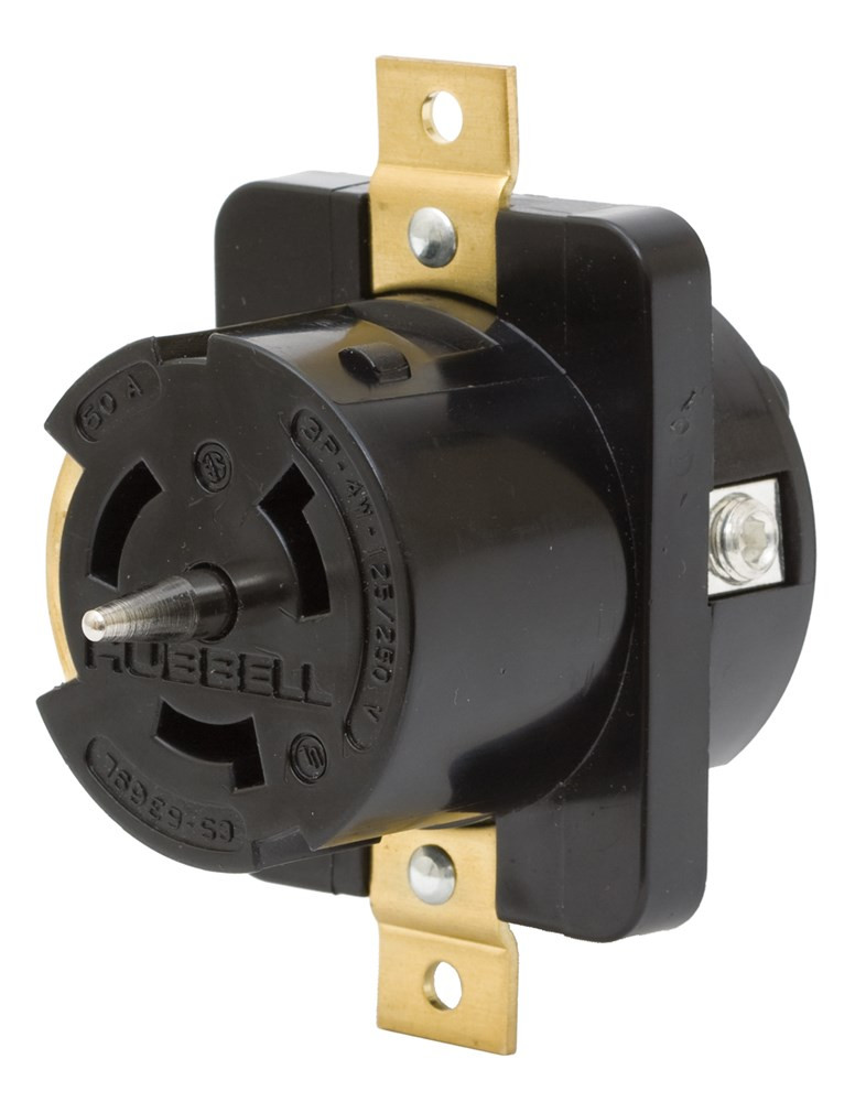 Hubbell Cs6369l Receptacle  250v  50a  3p  4w  1ph