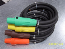 PIGTAILS - 10FT 4 WIRE CABLE PIGTAILS 4/0 480V W/ MALE HUBBELL SERIES 16 400A CAMLOCK WIRING DEVICES
