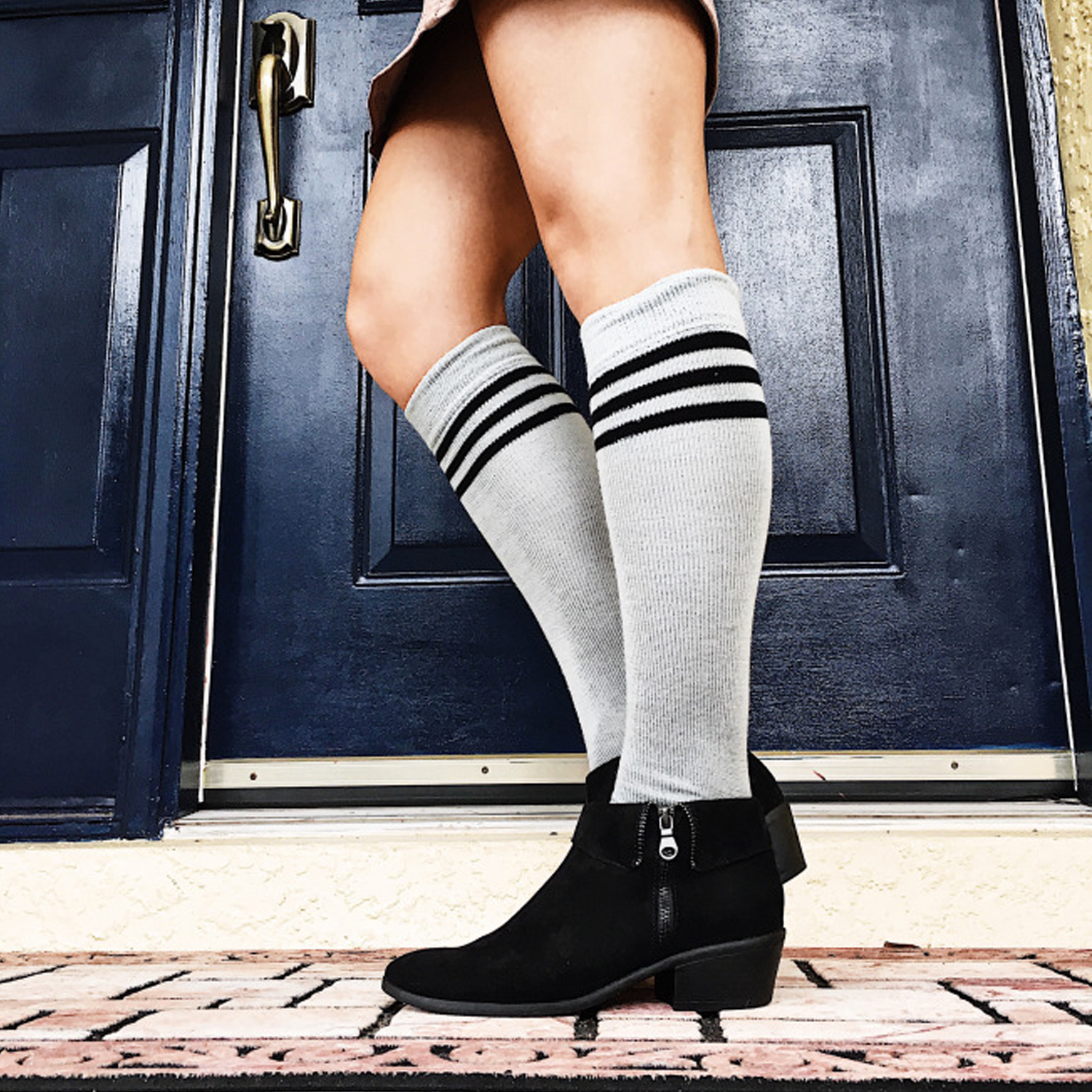 high socks with ankle booties