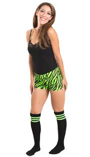black/neon green tube socks