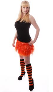 black and orange striped knee socks