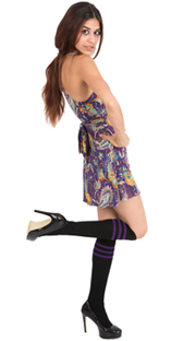 black - purple tube socks