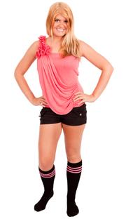 Black Tube knee socks with Dark Pink stripes