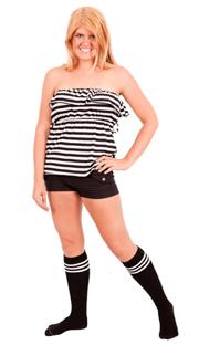 Black tube socks with white stripes.