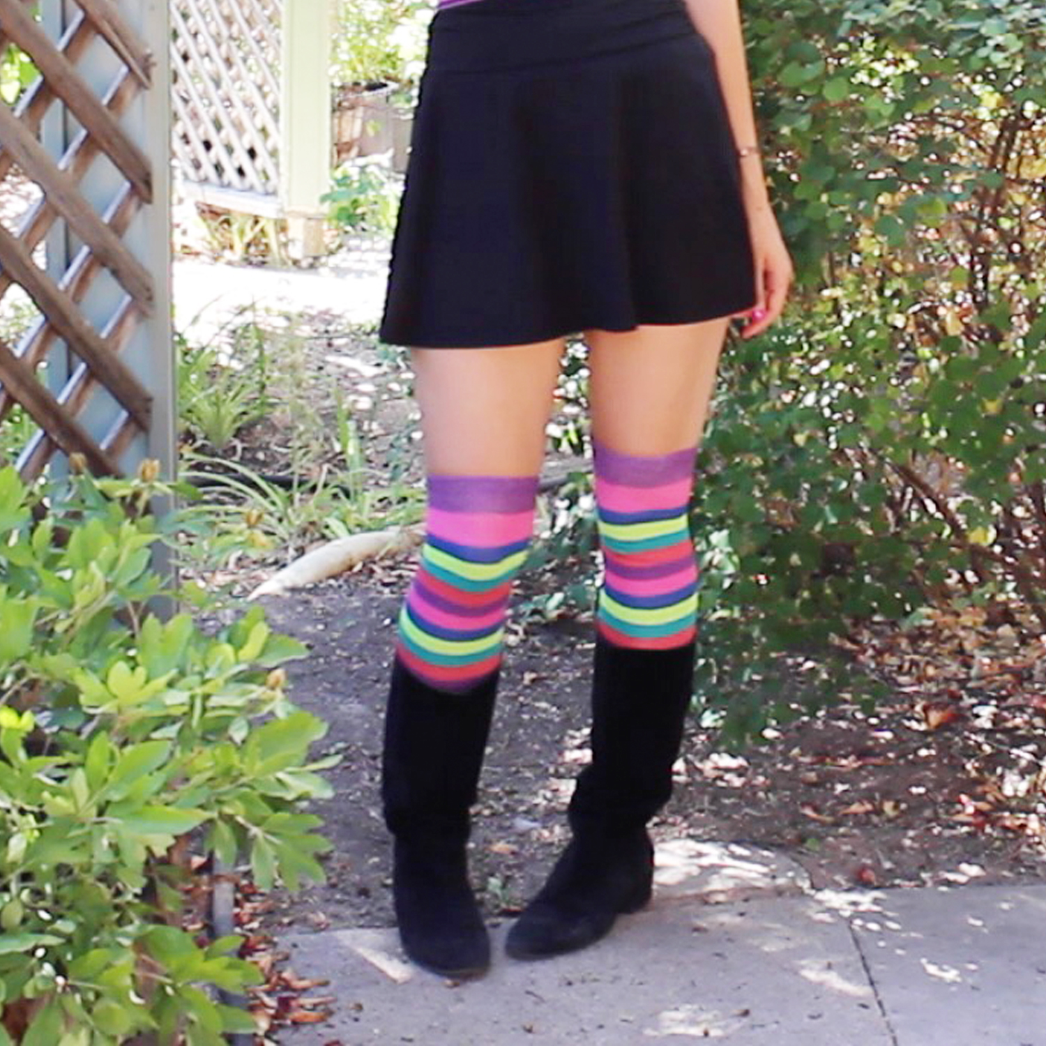 flat boots with thigh highs