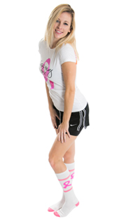 pink ribbon cancer run outfit with long socks