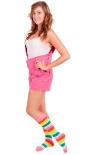 Multi-Color bright rainbow knee socks.