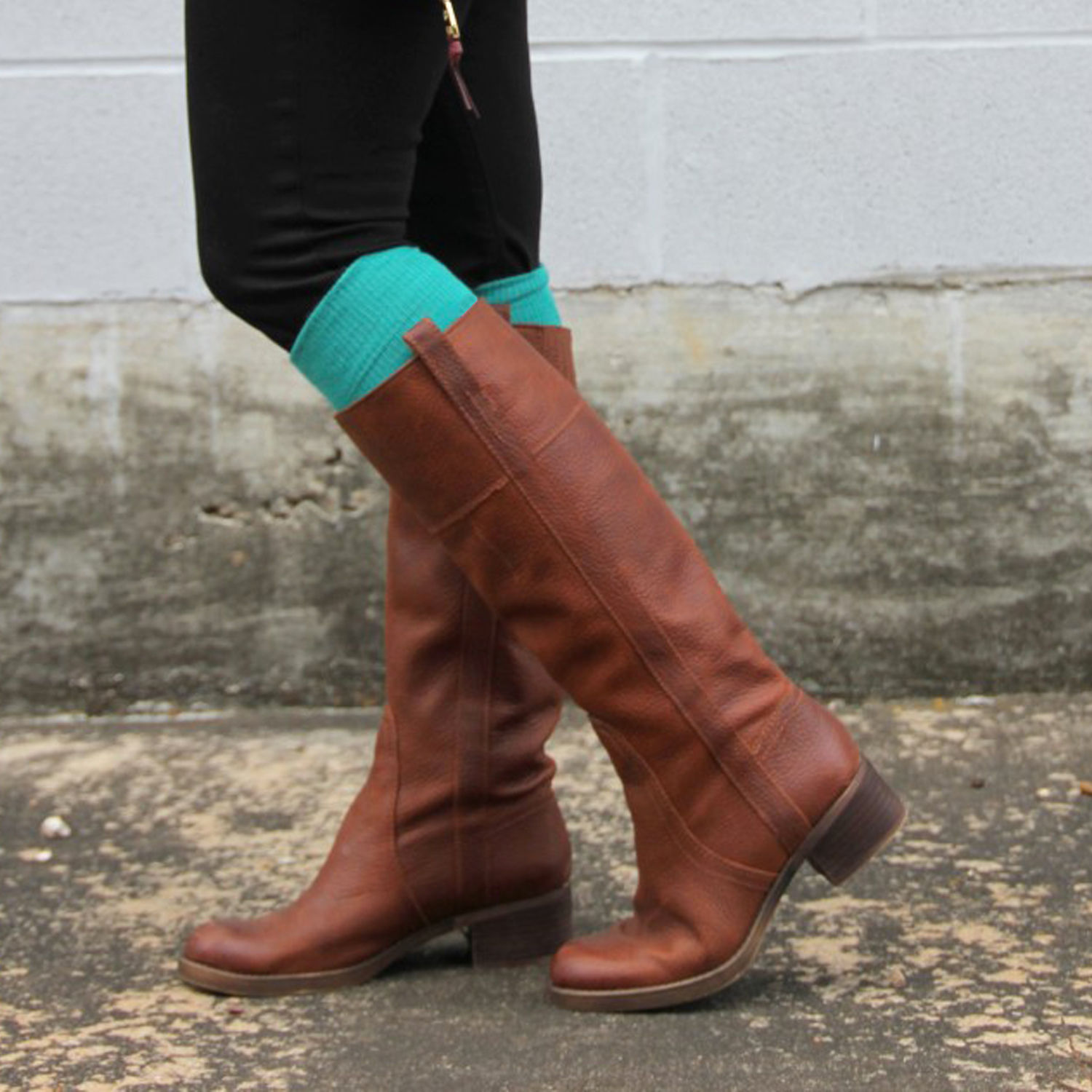 flat heel boots with teal socks