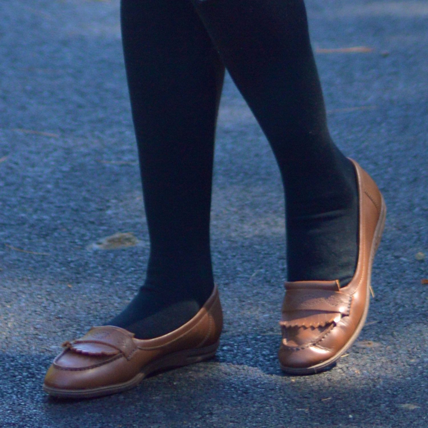 flat shoes with black socks