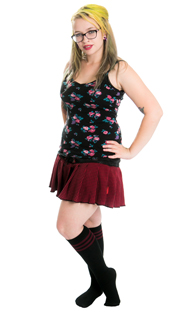 floral top with retro maroon tube socks