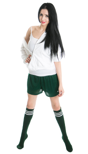 green mesh shorts with white top and dark green tube socks
