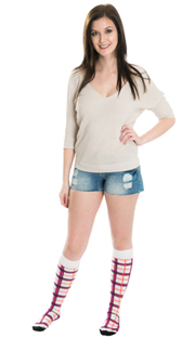 jean shorts and plaid knee socks