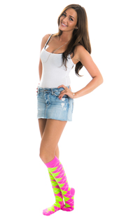 jean skirt with white top and neon pink/green argyle socks