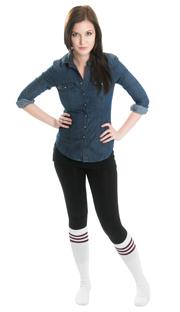 black leggings, jean shirt and vintage tube socks
