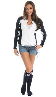 girl weaing jean shorts, zip up jacket and navy tube socks