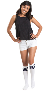 White shorts, tank top and navy striped tube socks
