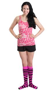 funky neon pink animal print socks