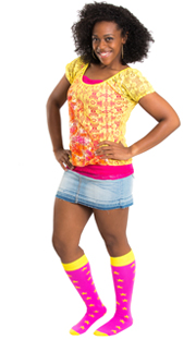 pink/yellow star knee socks