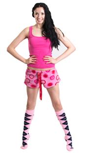 pink pjs and argyle high socks