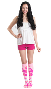 cute pink camo knee socks