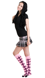 woman wearing plaid skirt and pink plaid high socks