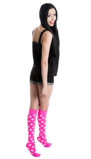 pink polka dot socks with jean shorts and black top