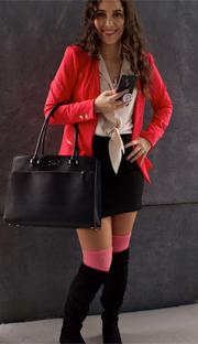 pink socks with black skirt