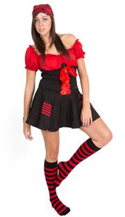 pirate socks - black/red striped