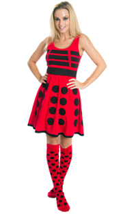 Red and Black Polka Dot Dress and knee socks