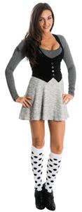 school girl wearing skirt and polka dot knee highs