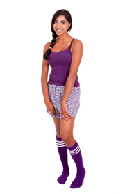 Purple with white stripes tube socks