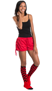 red shorts, black tank top and checkerboard knee socks