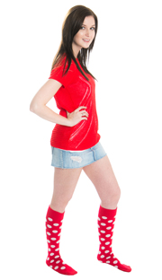 woman wearing jean skirt red top and spotted socks