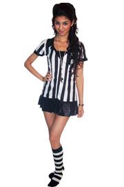 referee knee socks outfit black white socks
