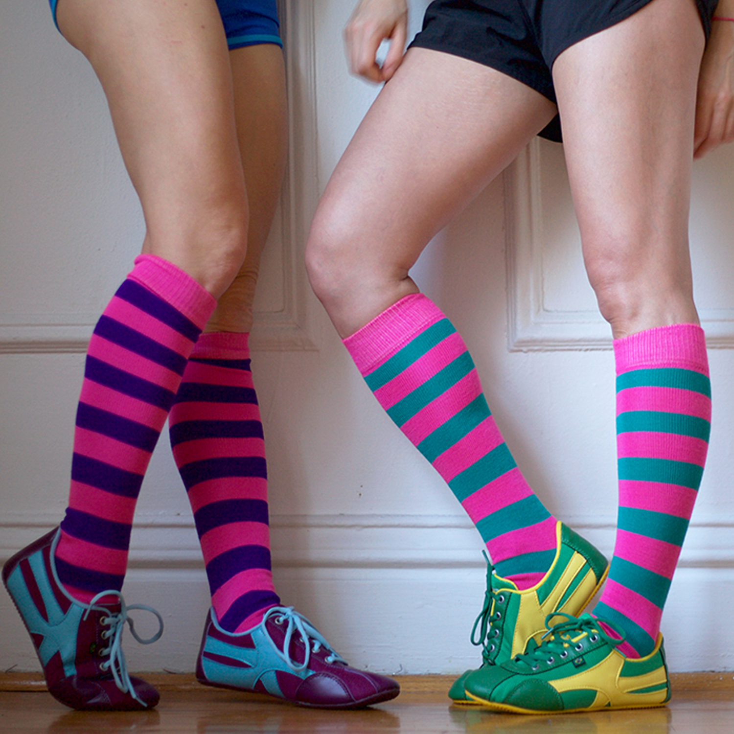 running shoes with striped socks