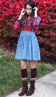 skirt with long socks