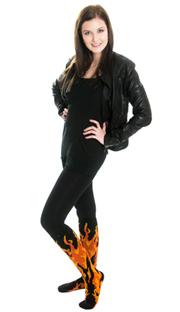 black leggings, leather jacket and fire knee socks