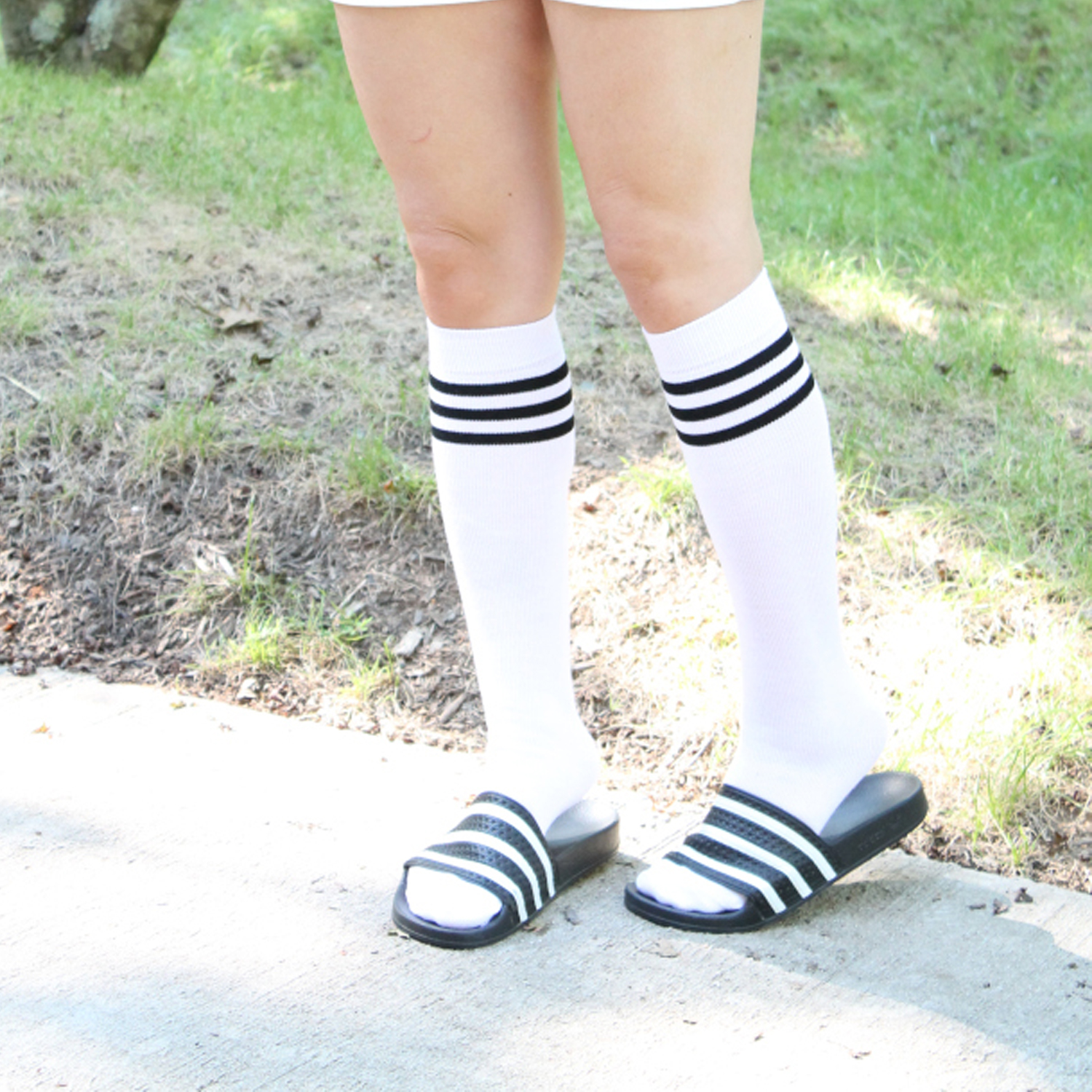 high socks with sandals