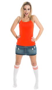 girl wearing jean skirt and striped orange knee socks