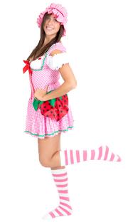 pink white striped socks